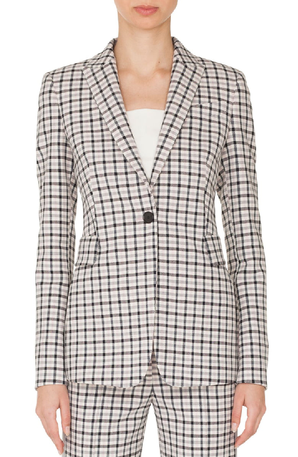 Akris Punto One-button Long-sleeve Flap-pockets Tailored Glen-check Blazer In Rose - Cream - Black