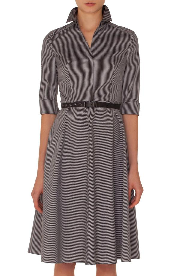 Akris Punto Elbow-sleeve Detachable-collar Press-button Striped Shirtdress In Black-silver