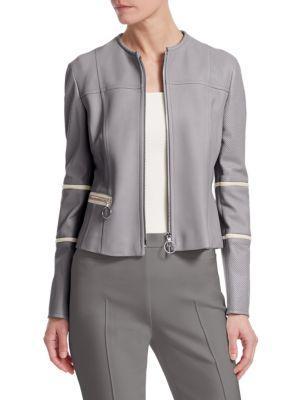 Akris Punto Nappa Leather Biker Jacket In Silver Cream