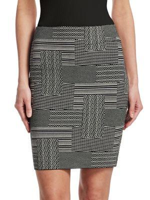 Akris Punto Patchwork Jacquard Pencil Skirt In Black Cream