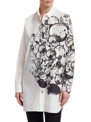 Akris Punto Cotton Mirror Print Tunic In Cream-silver