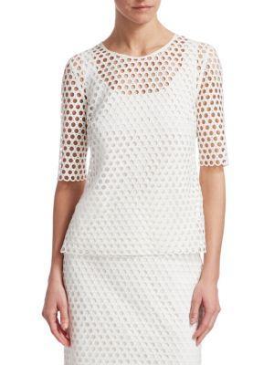 Akris Punto Round-neck Half-sleeve Circle-lace Top In Cream