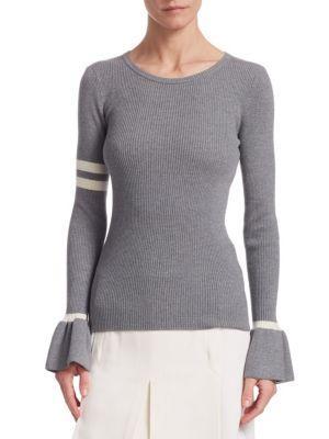 Akris Punto Ribbed Wool Varsity Bell-sleeve Top In Silver Cream