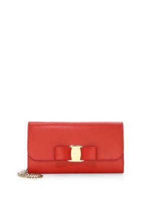 Salvatore Ferragamo Mini Vara Leather Convertible Clutch In Lipstick