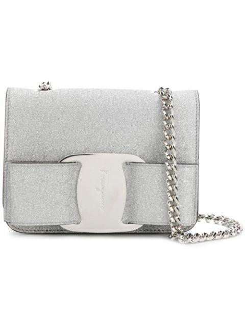 Salvatore Ferragamo Mini Vara Bow Glitter Leather Crossbody Bag In Metallic