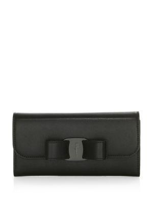 Salvatore Ferragamo Vara Leather Wallet In Black