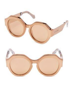 Roberto Cavalli Bronze Round Sunglasses/56mm In Beige