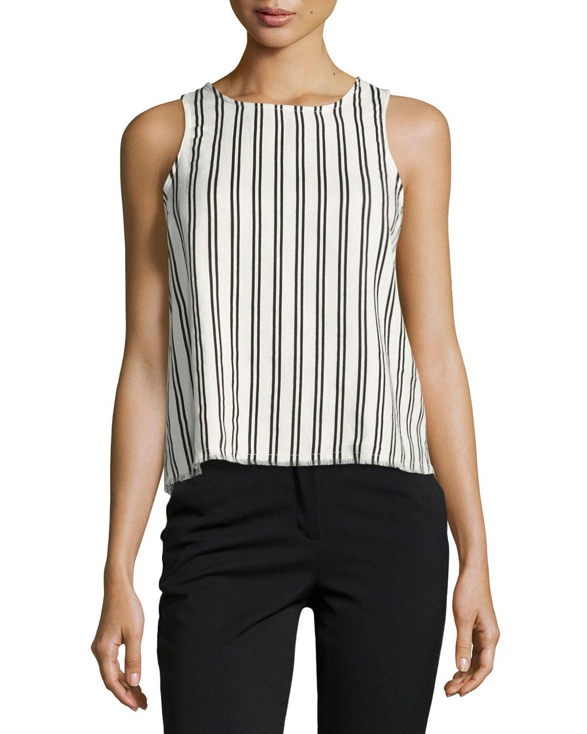 Lucca Couture Striped Top With Lace-up Back, White/black