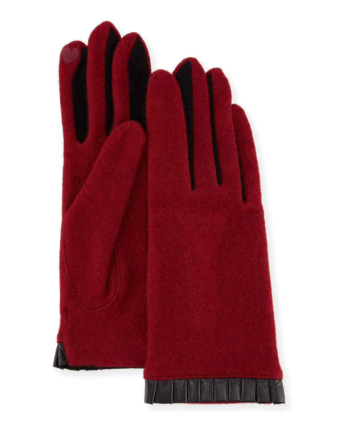 Portolano Cashmere-blend Leather-cuffed Tech Gloves In Wine/wine