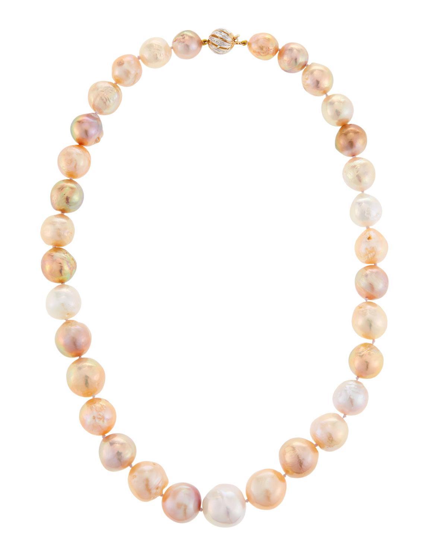 Belpearl 14k Two-tone Pearl Swirl Necklace
