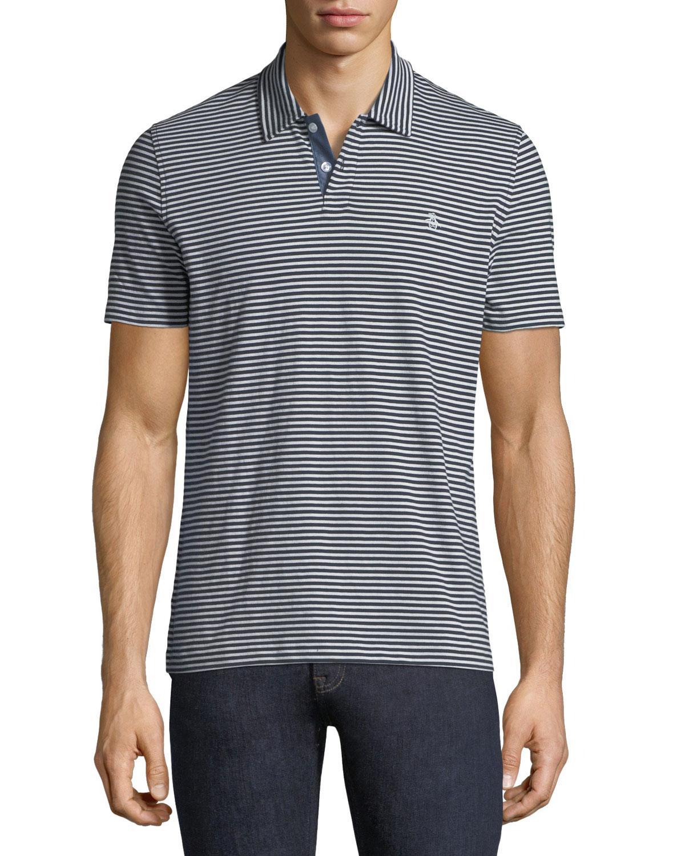 Penguin Heathered-stripe Polo Shirt In Dark Blue