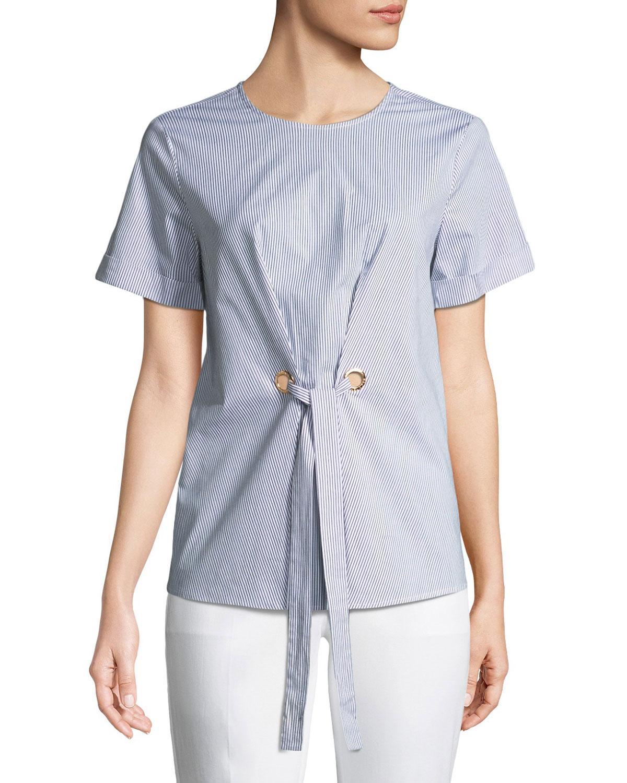 Michael Michael Kors Tie-front Short-sleeve Poplin Blouse In Navy