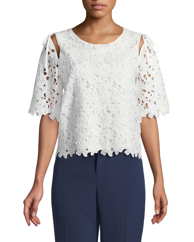 Laundry By Shelli Segal Open-shoulder Crochet Lace Blouse In White
