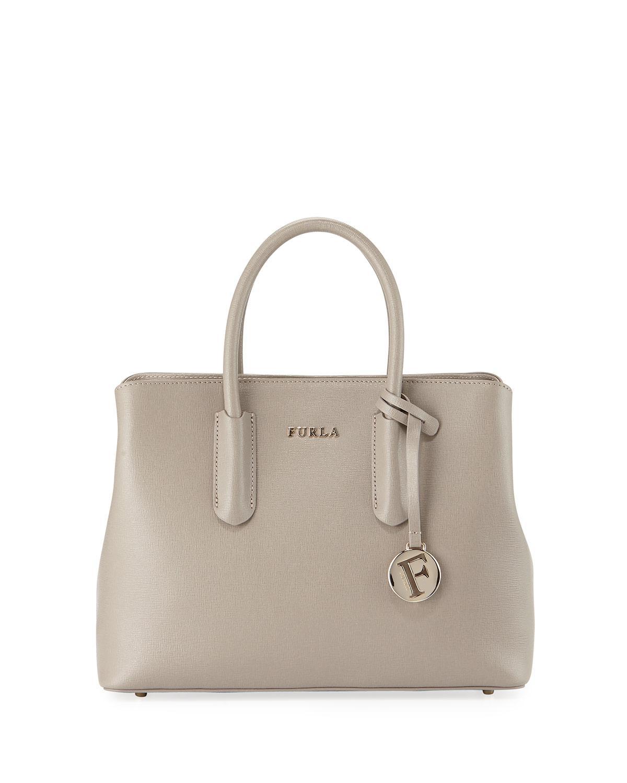 Furla Tessa Small Saffiano Leather Satchel Bag In Black