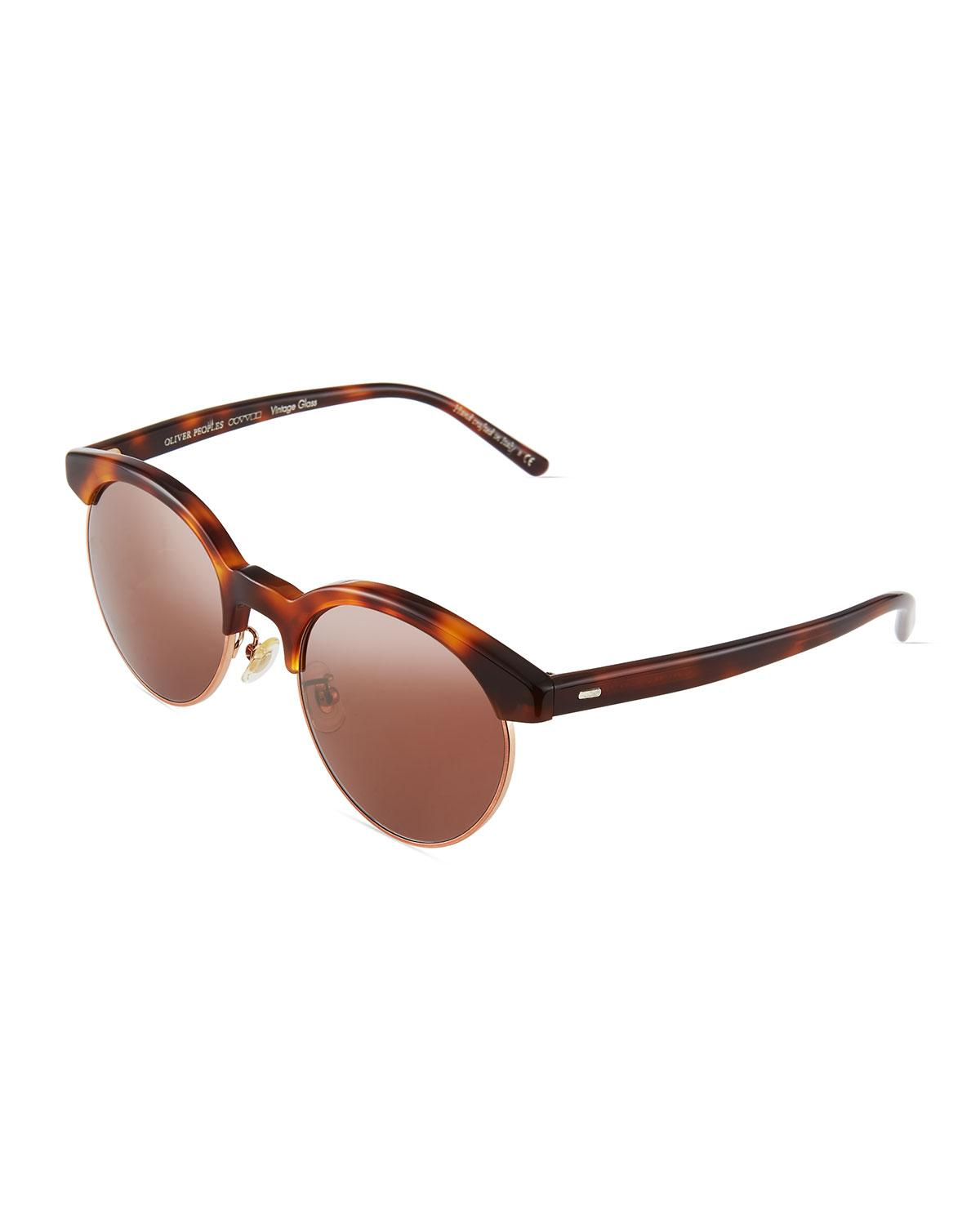 Oliver Peoples Ezelle 51 Semi-rimless Sunglasses In Rose Gold