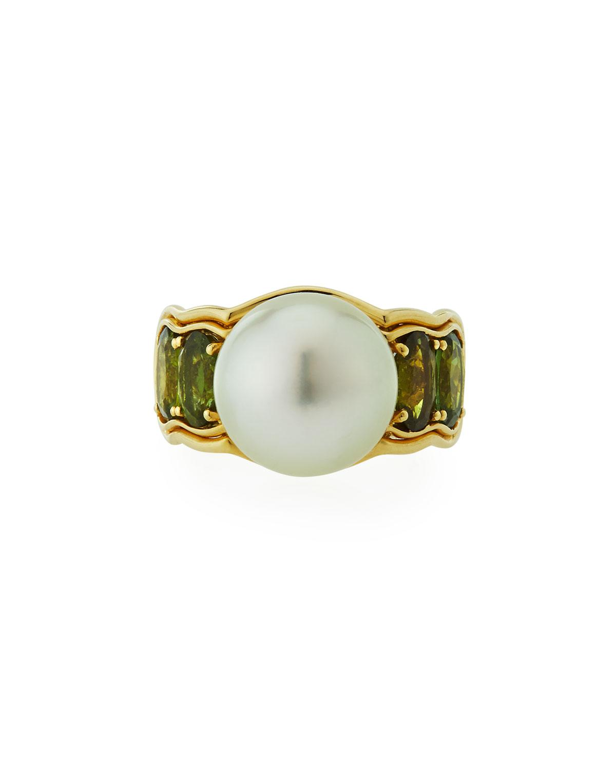 Belpearl 14k Green Tourmaline & South Sea Pearl Ring