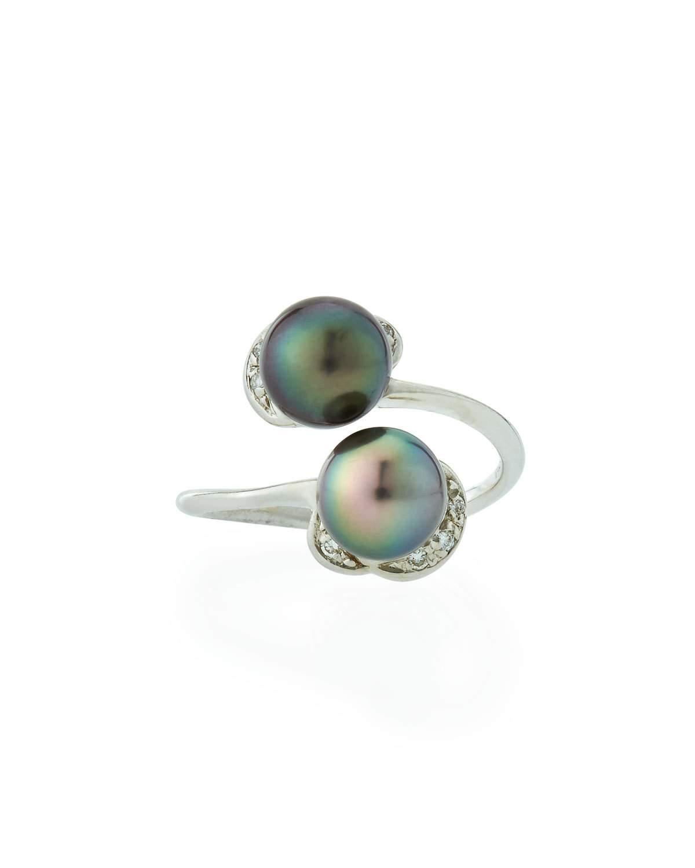 Belpearl 18k Diamond & Tahitian Pearl Bypass Ring
