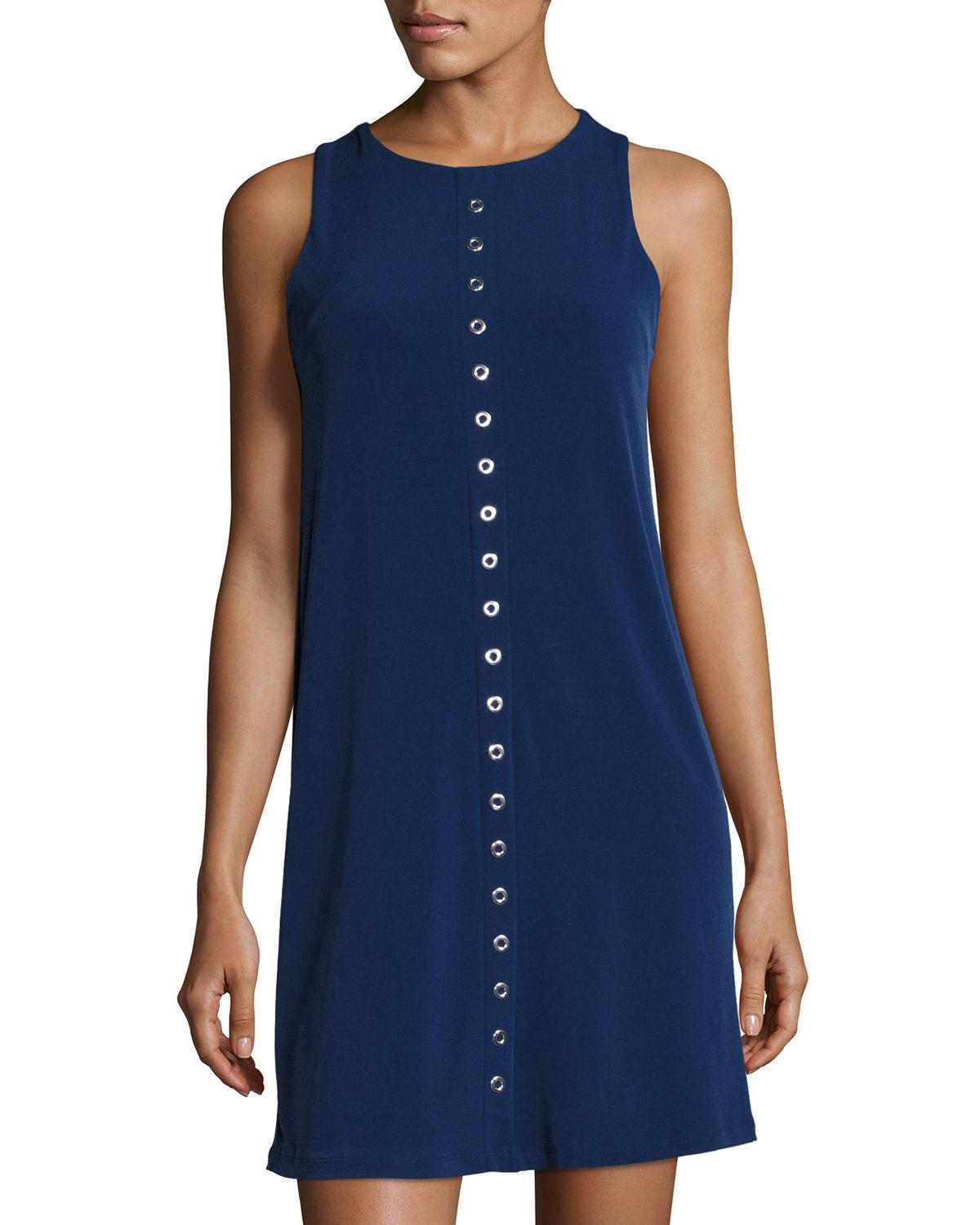 Michael Michael Kors Grommet-embellished Shift Dress In Blue