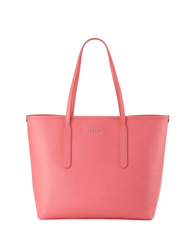 Furla Ariana Medium Leather Tote Bag, Medium Pink In Black
