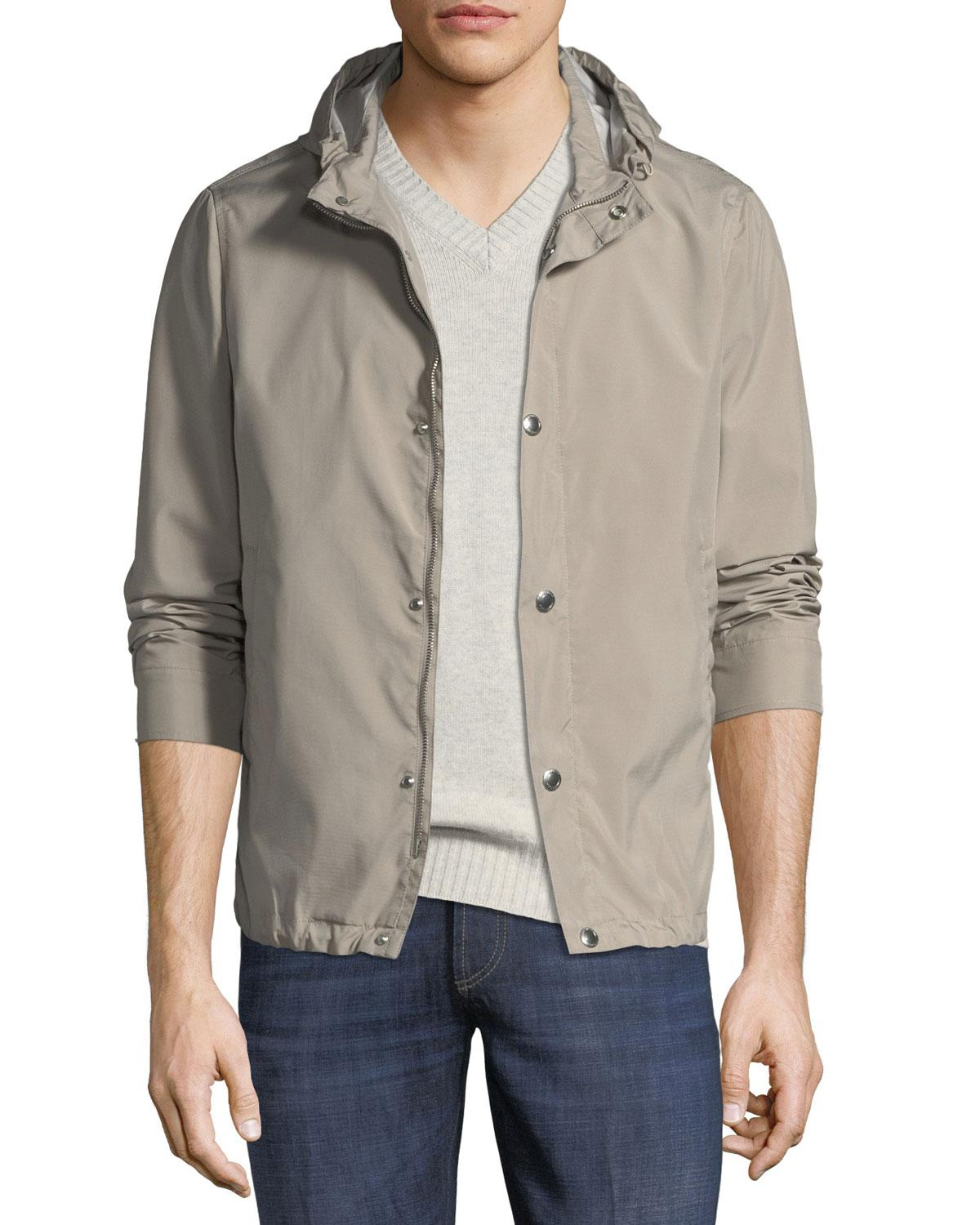 Brunello Cucinelli Hooded Button-front Parka Jacket In Brown/white