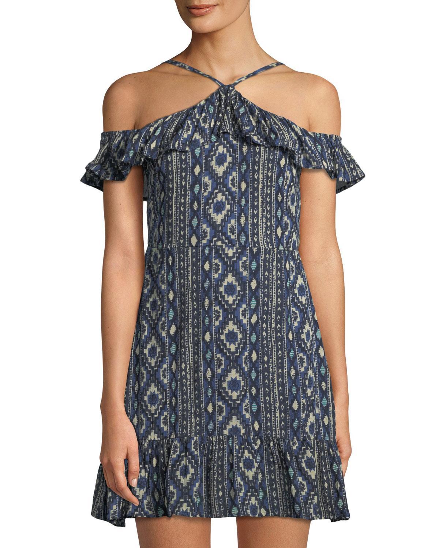 Lost + Wander Cancun Ruffle-sleeve Halter Dress In Blue