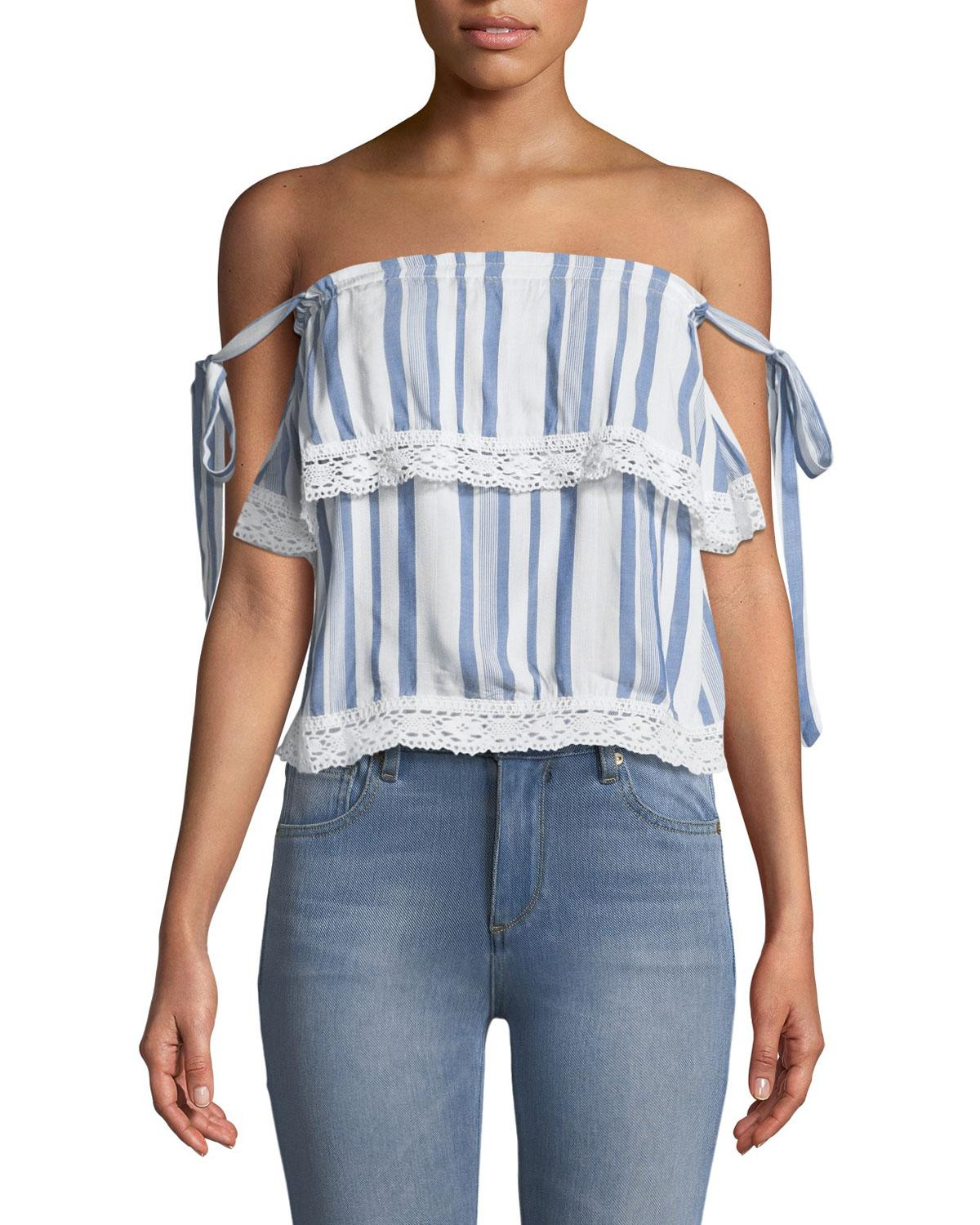 Lost + Wander Marina Off-the-shoulder Tiered Cami Top In White/blue