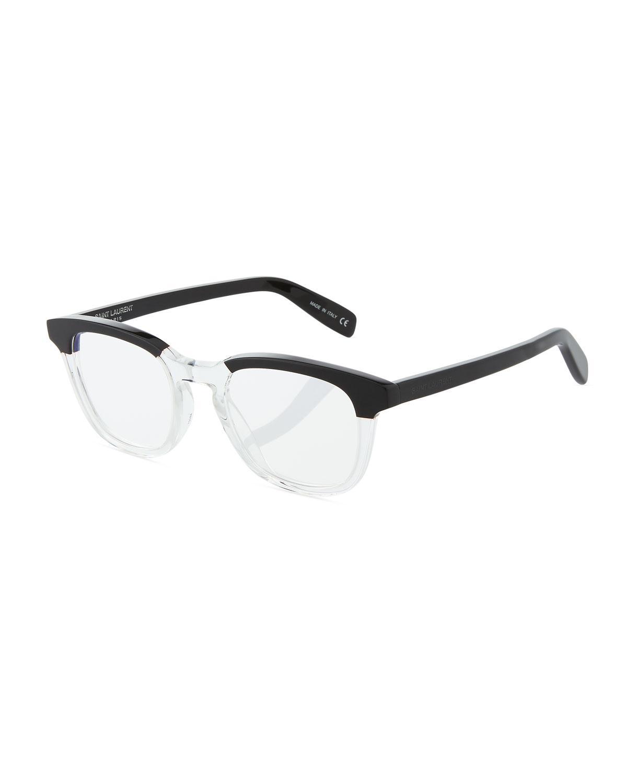 1d69e24e26 Saint Laurent Round Two-Tone Acetate Optical Glasses In Black