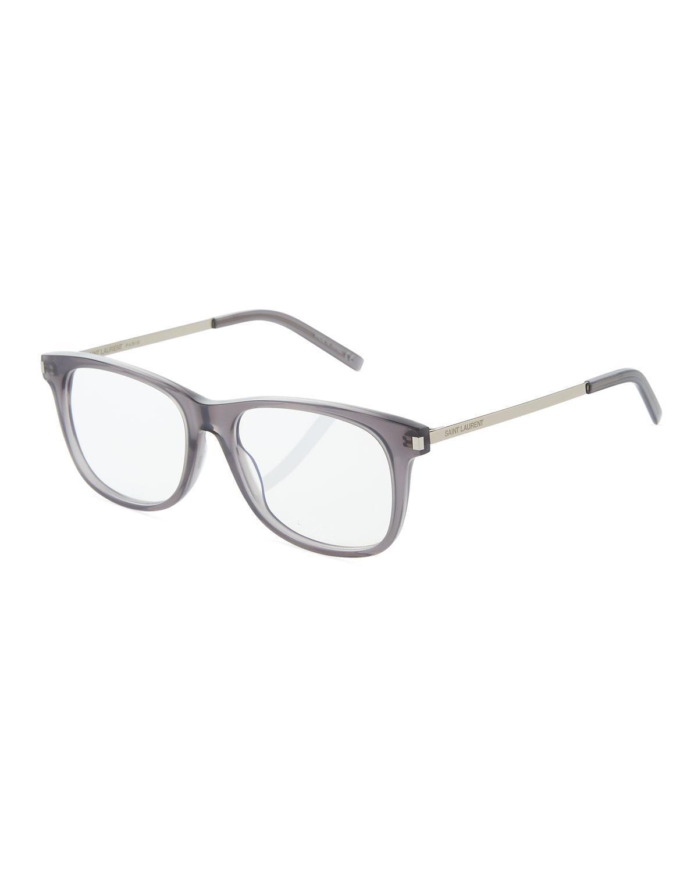 65f98afede55 Saint Laurent Square Acetate Metal Optical Glasses In Gray