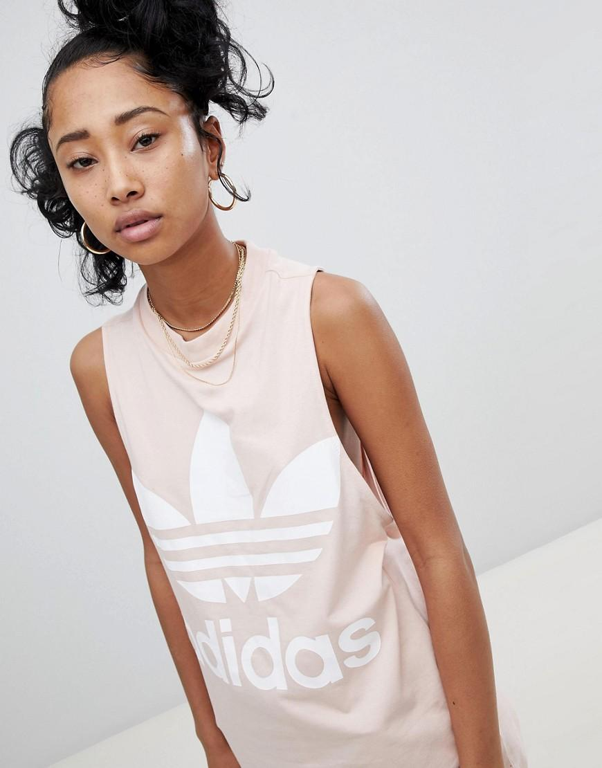Adidas Originals Big Trefoil Tank Top In Pink - Pink