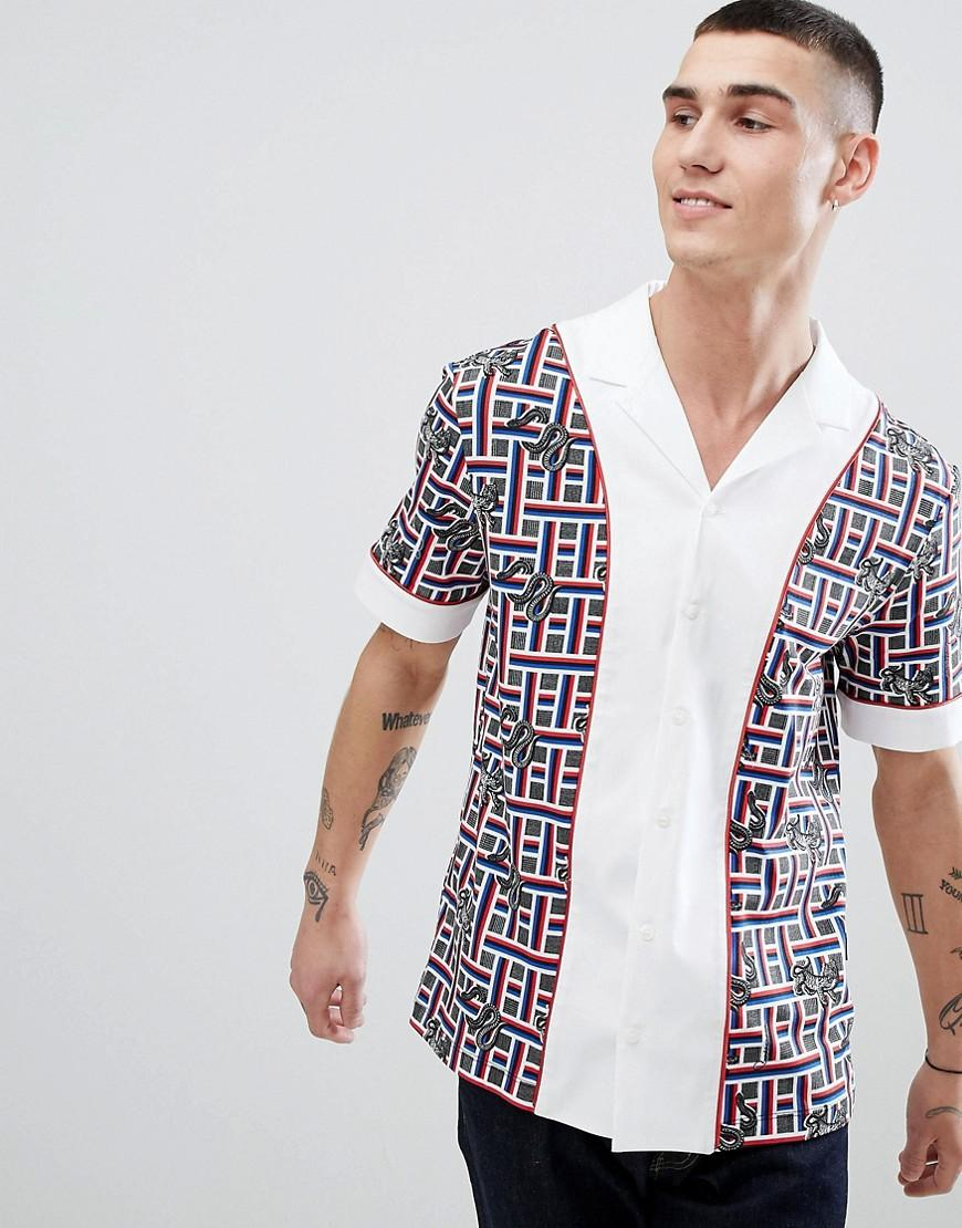 Cavalli Class Revere Shirt In White With Snake Check Print - White
