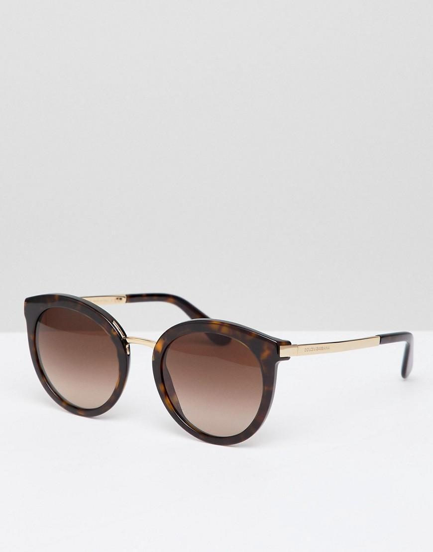 Dolce & Gabbana Round Sunglasses In Tort - Brown