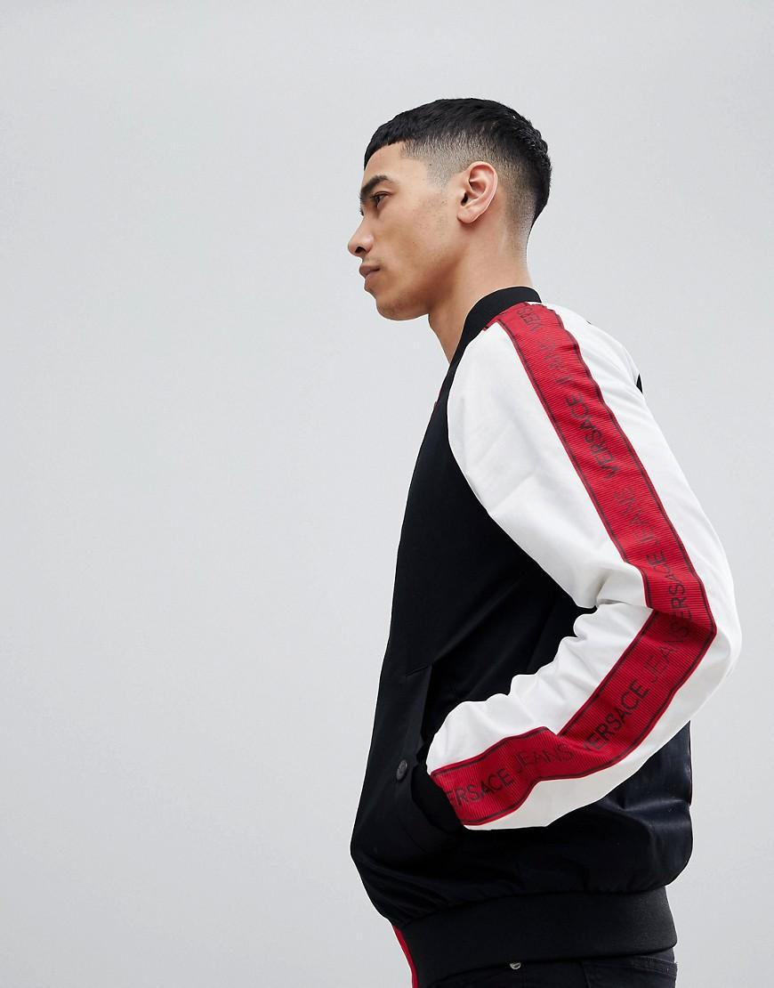 Versace Jeans Bomber Jacket With Red Logo Taping - Black