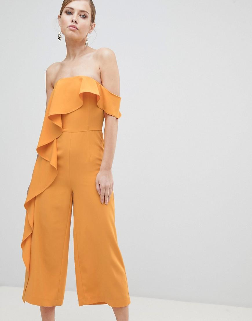 Lavish Alice Off Shoulder Culotte Jumpsuit With Frill - Yellow