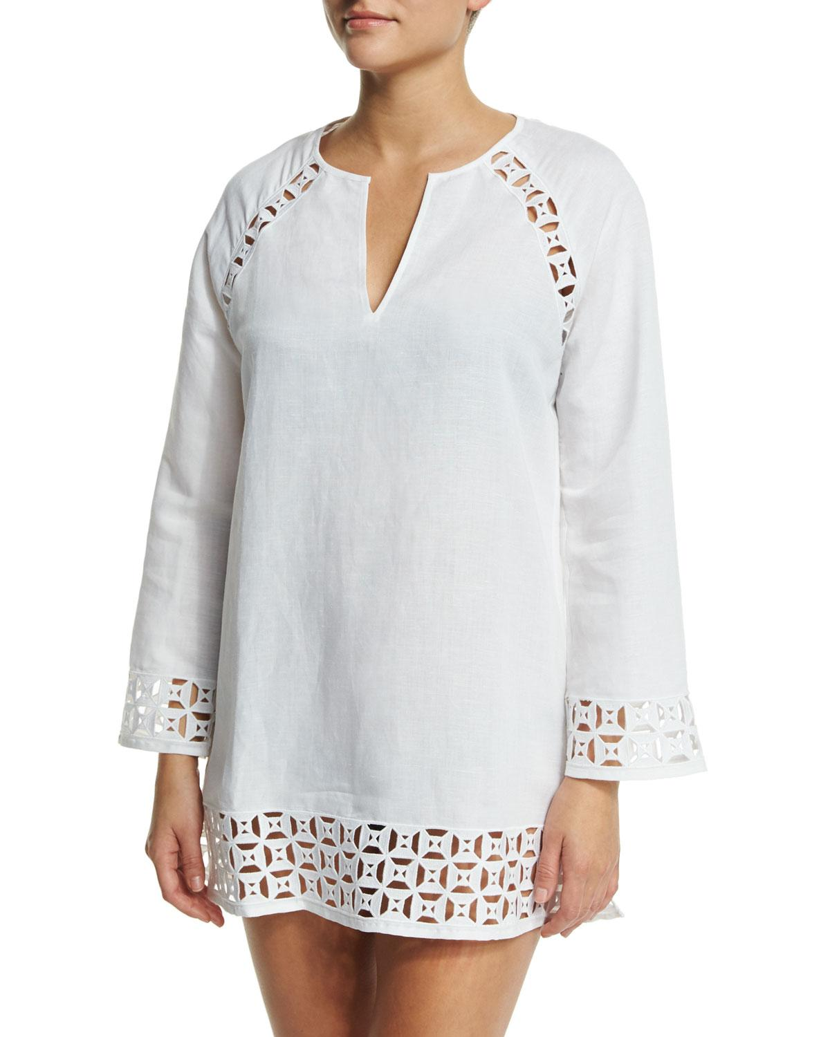 Tory Burch Embroidered Cutout Linen-blend Tunic Coverup In White/white