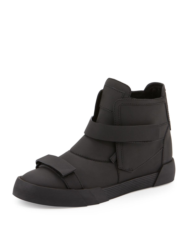 Giuseppe Zanotti Men's Shark Double-strap Leather Sneaker Boots In Black