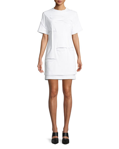 Helmut Lang Holey Distressed Crewneck Short-sleeve Mini Dress In White