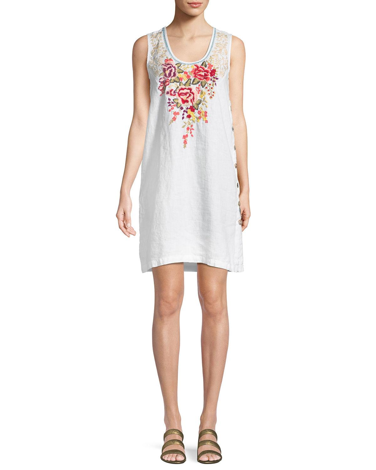 Johnny Was Adeline Sleeveless Side-button Linen Tunic Dress In White