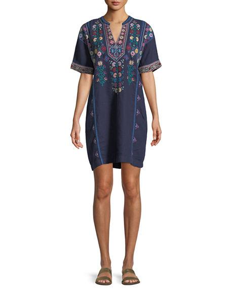 Johnny Was Clover Linen Embroidered Tunic, Plus Size In Navy