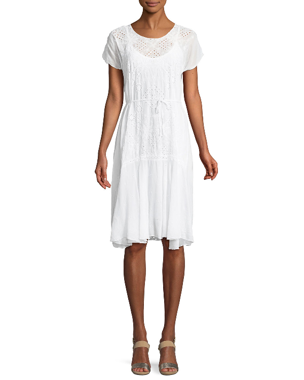 Johnny Was Mixed Berry Georgette Short-sleeve Shift Dress, Plus Size In White
