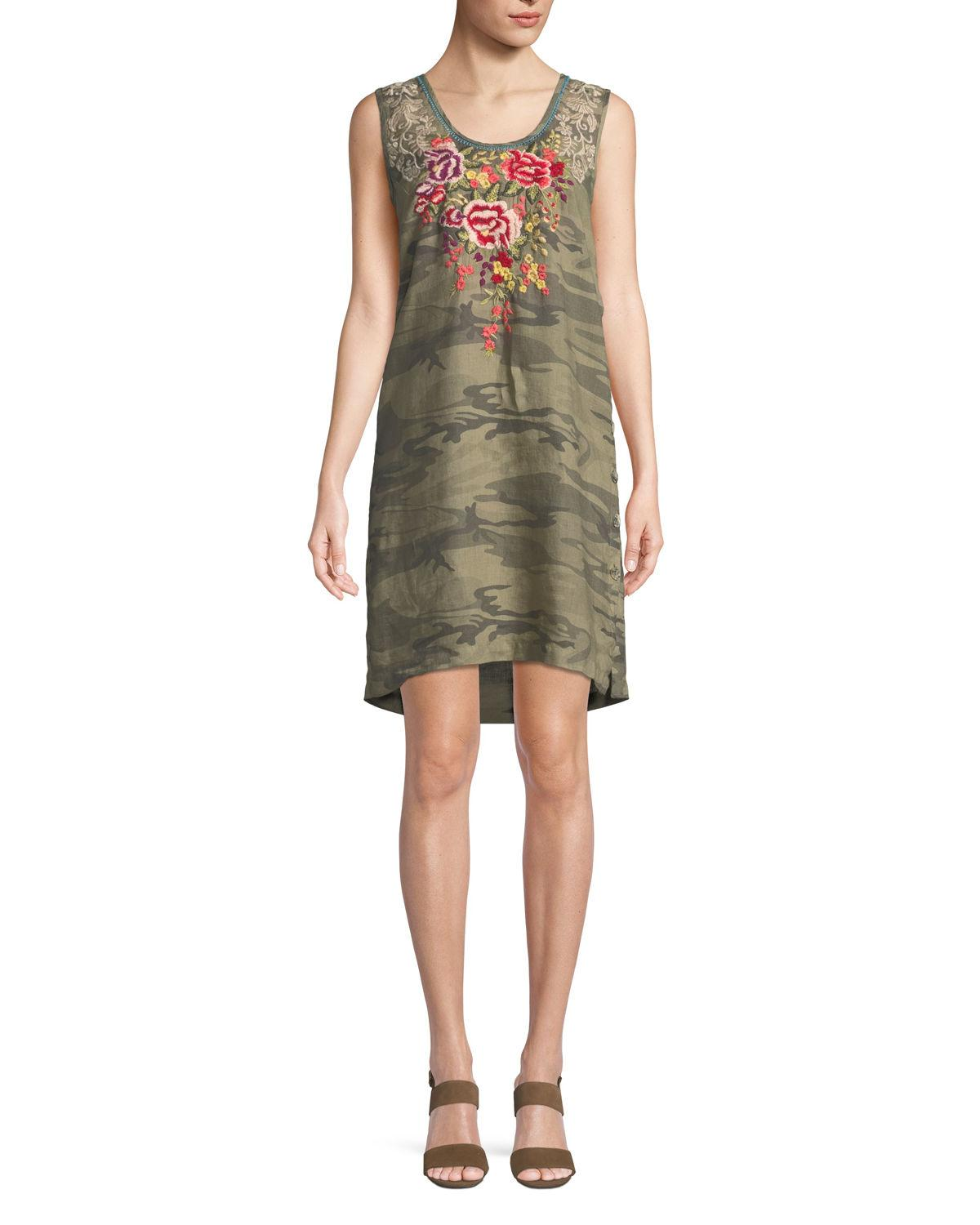 Johnny Was Adeline Sleeveless Side-button Linen Tunic Dress In Vintage Camo