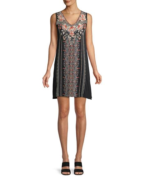 Johnny Was Plus Size Calida Sleeveless Embroidered Tank Tunic In Black
