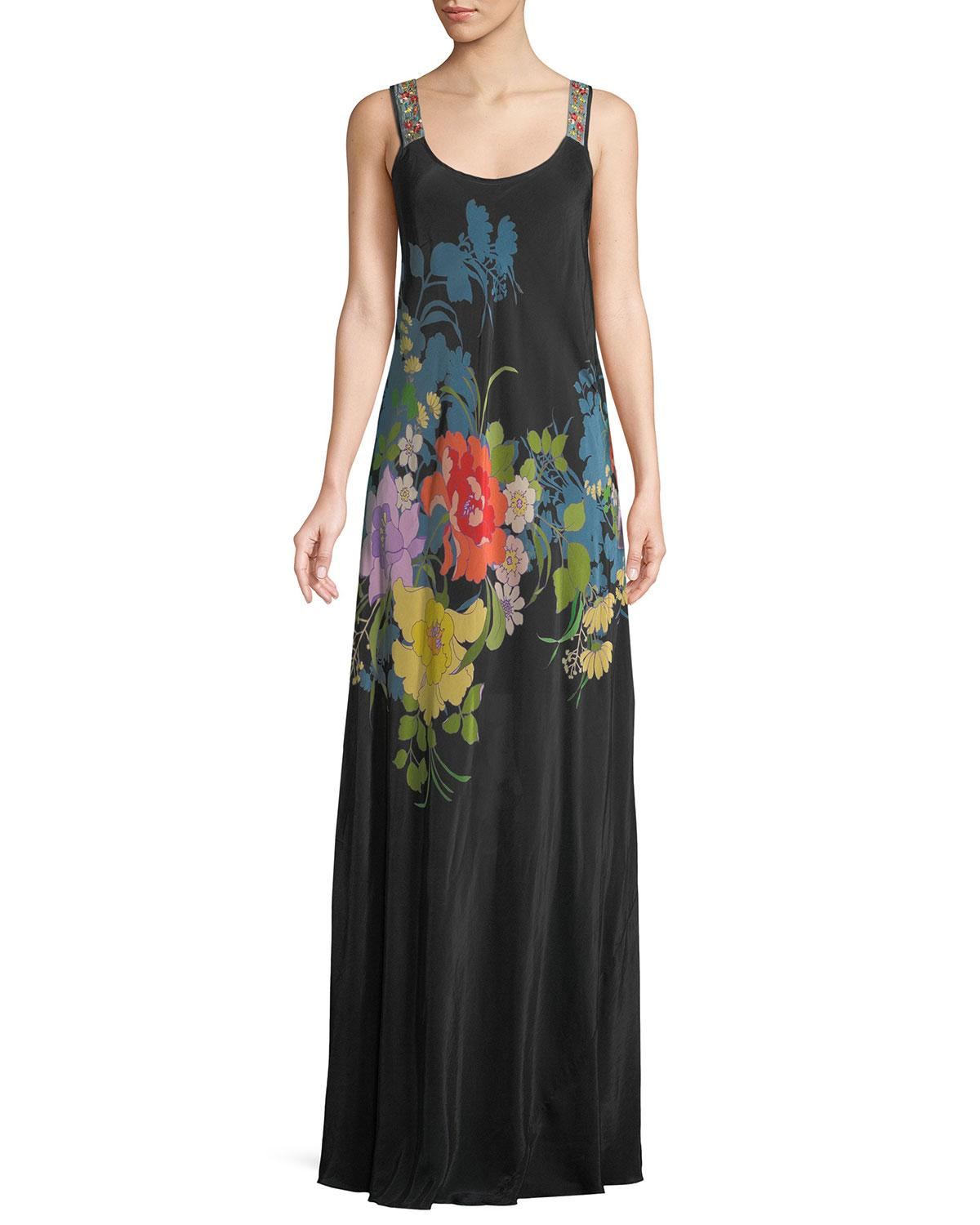 Johnny Was Fusion Sleeveless Floral-print Maxi Dress In Multi Black