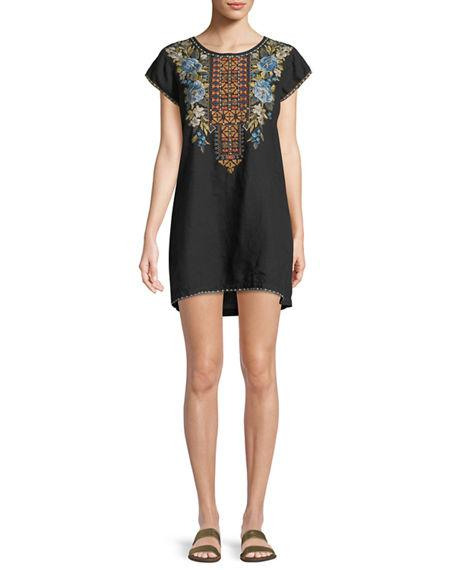 Johnny Was Hira Linen Peasant Tunic Dress, Plus Size In Black