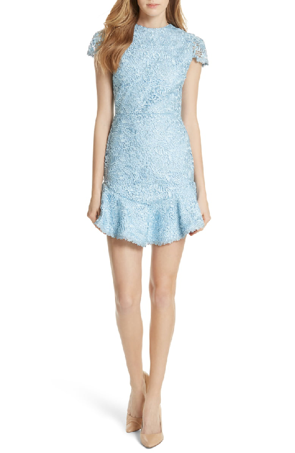 Alice And Olivia Rapunzel Curved Hem Lace Fit And Flare