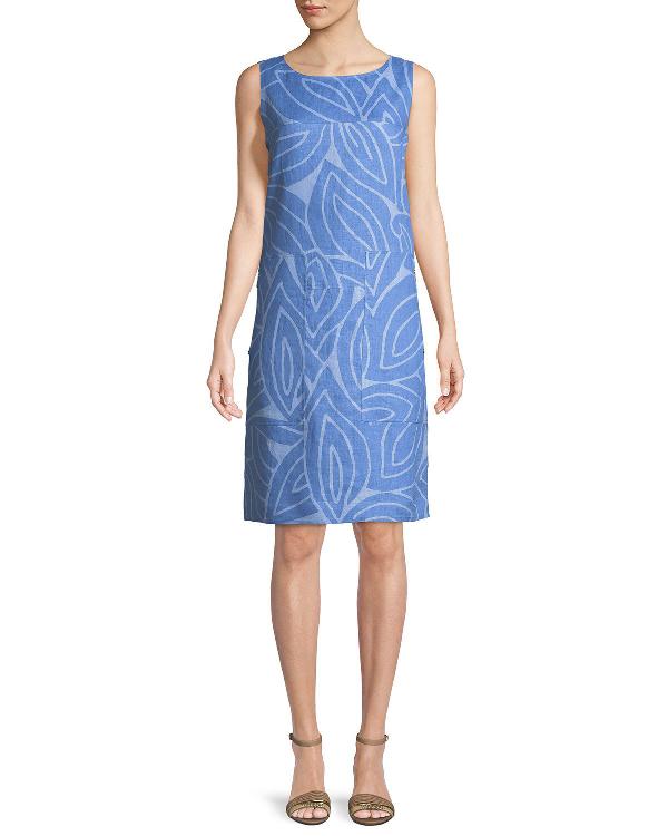 Lafayette 148 Farah Sleeveless Linen Dress In Bluebird Multi