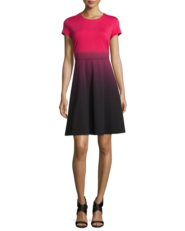 Carmen Marc Valvo Cap-sleeve Fit-&-flare Ombre Dress, Pink Tea/black In Pink Tea W/ Blk D