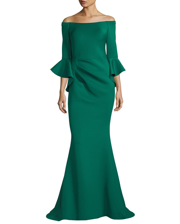 Jovani Off-the-shoulder Trumpet-sleeve Mermaid Gown In Green