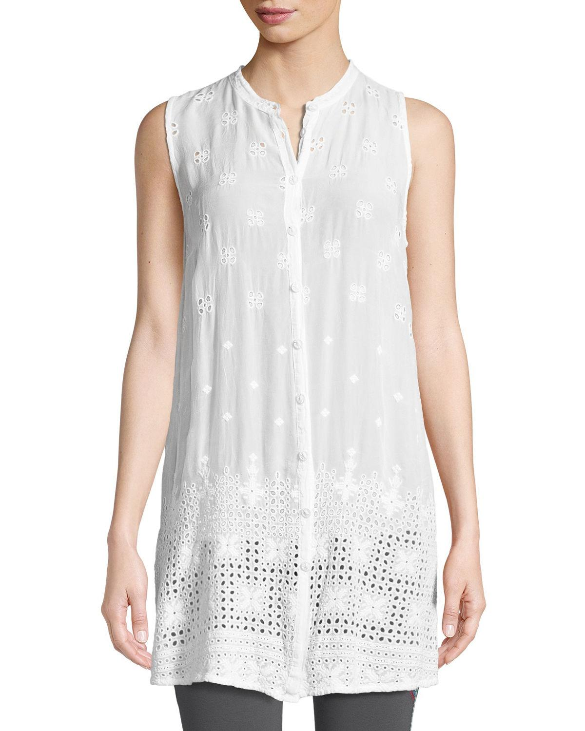 1556b3070a1 Johnny Was Plus Size Darla Sleeveless Long Button-Front Tunic In White