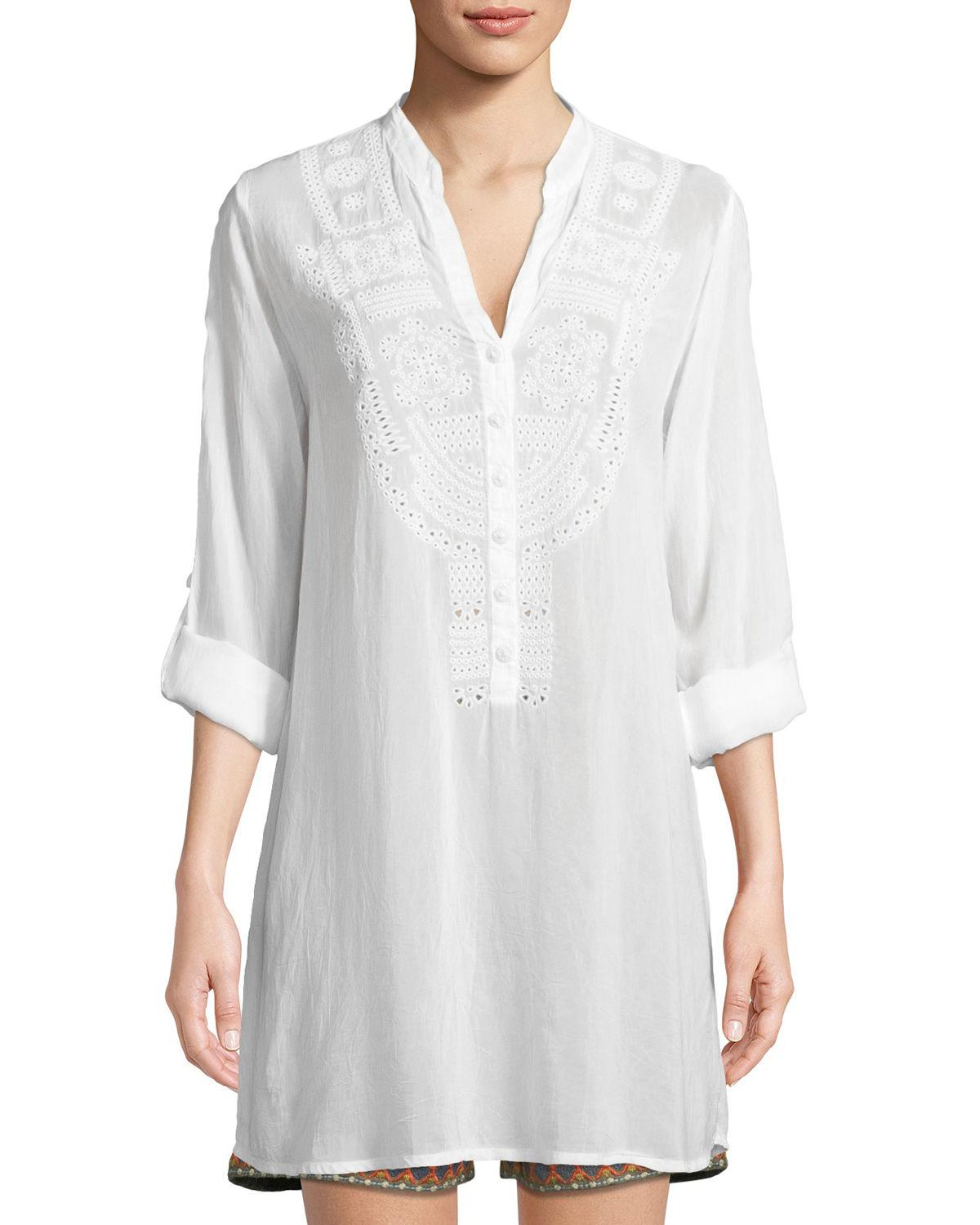 Johnny Was Eyelet-embroidered V-neck Tunic In White