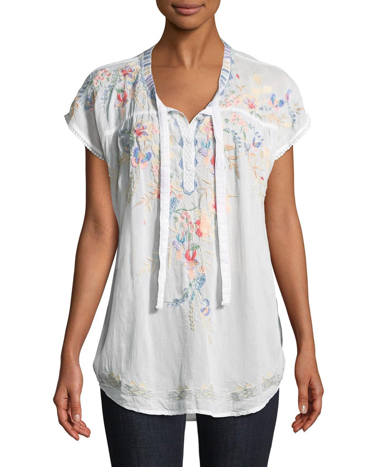 Johnny Was Dreaming Embroidered Tie-front Blouse, Plus Size In White